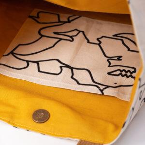 レッスンバッグ(恐竜柄、帆布11号アクアマリン)内ポケット