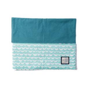 防災頭巾カバー(北欧風の文鳥、帆布11号アクアマリン)全体