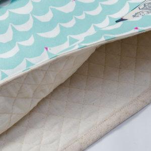 防災頭巾カバー(北欧風の文鳥、帆布11号アクアマリン)キルティング