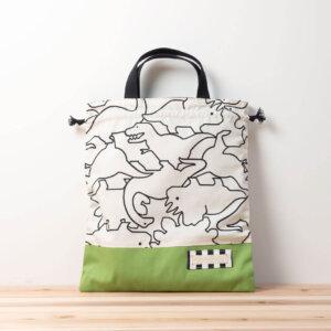 体操服袋(恐竜柄、帆布11号グリーン)