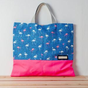 レッスンバッグ(淡いフラミンゴ、蛍光ピンク)