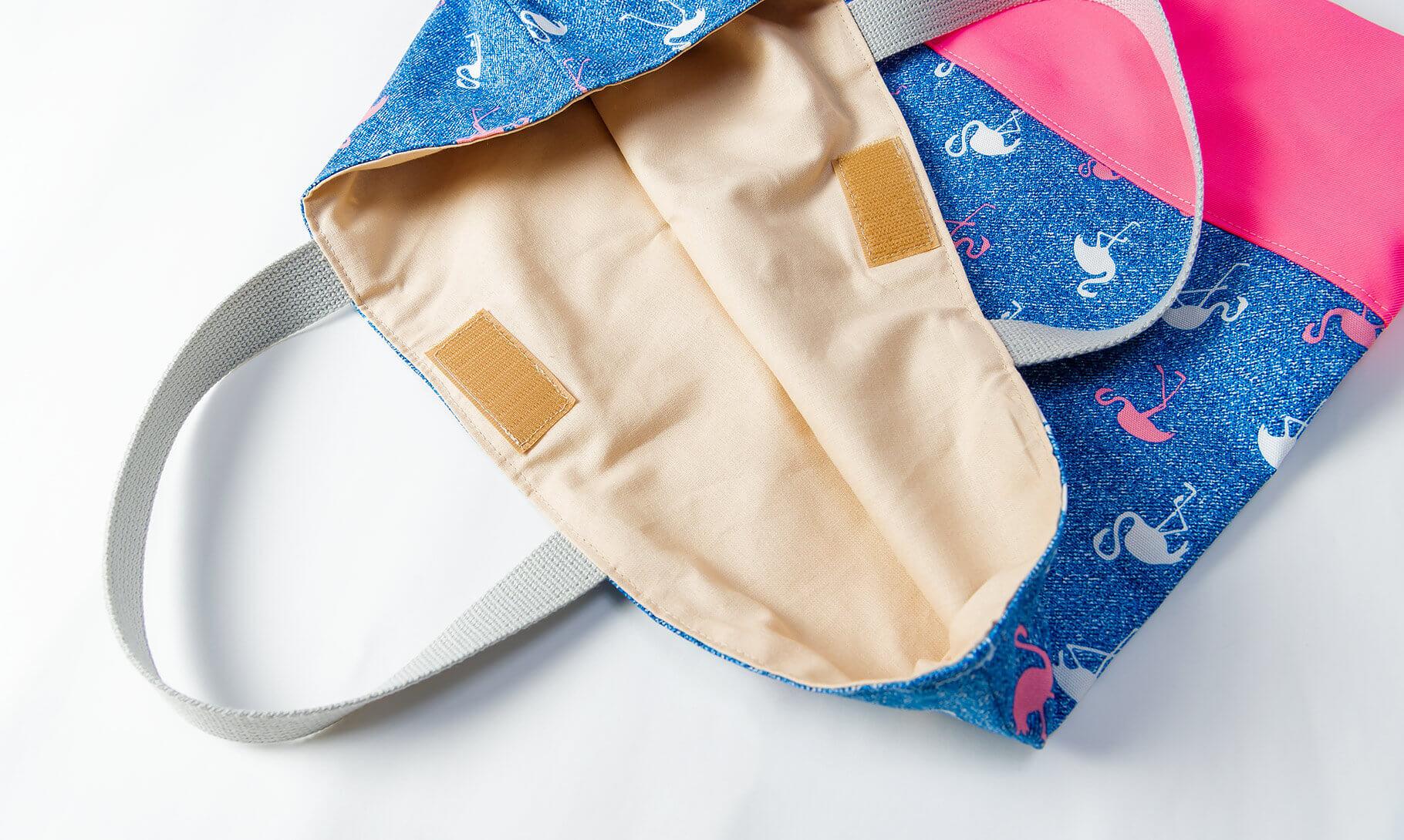 レッスンバッグ(淡いフラミンゴ、蛍光ピンク)内布とマジックテープ