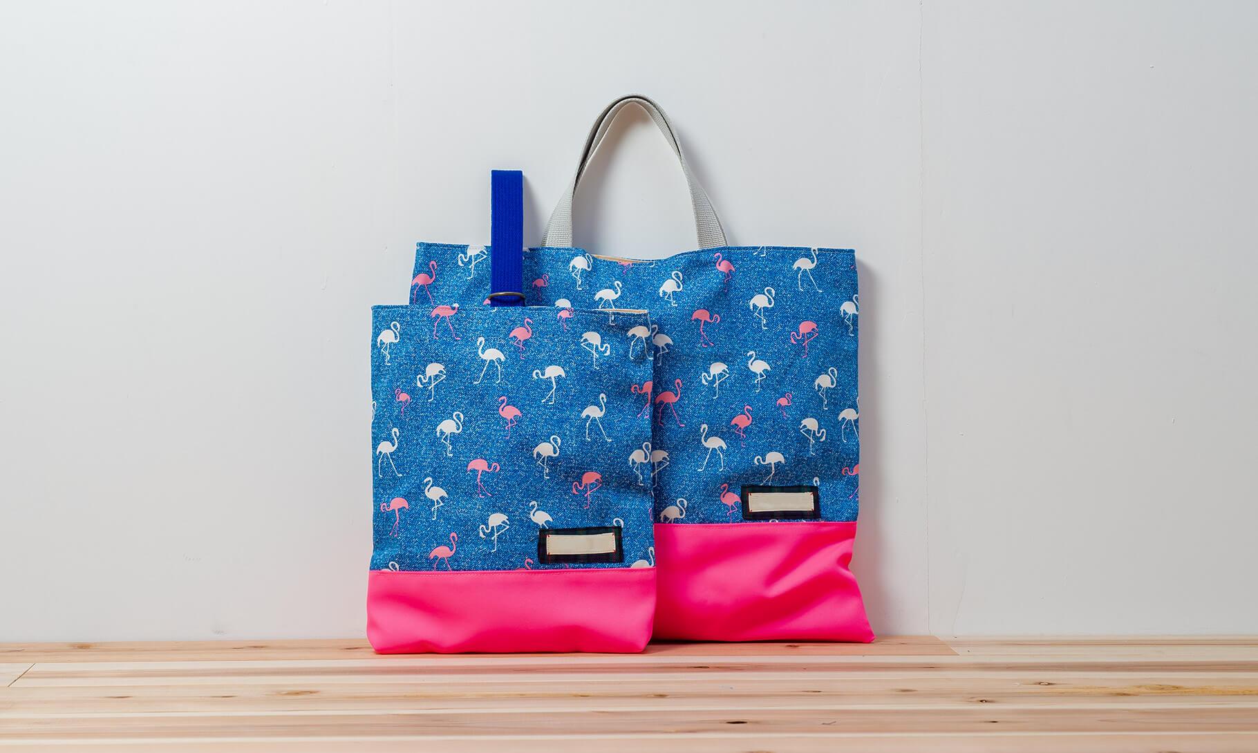 レッスンバッグと上履き入れのオーダー(フラミンゴと蛍光ピンク)