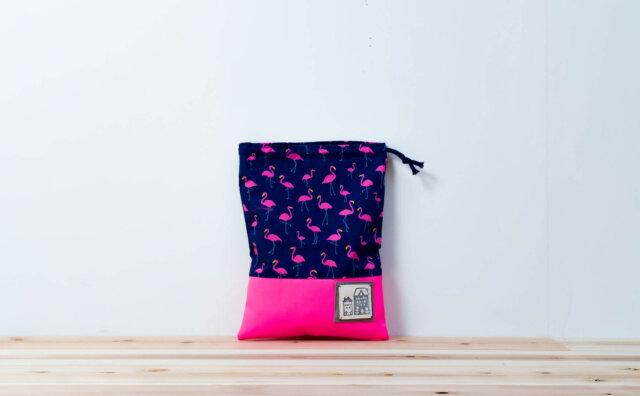コップ袋(フラミンゴネイビー、蛍光ピンク)