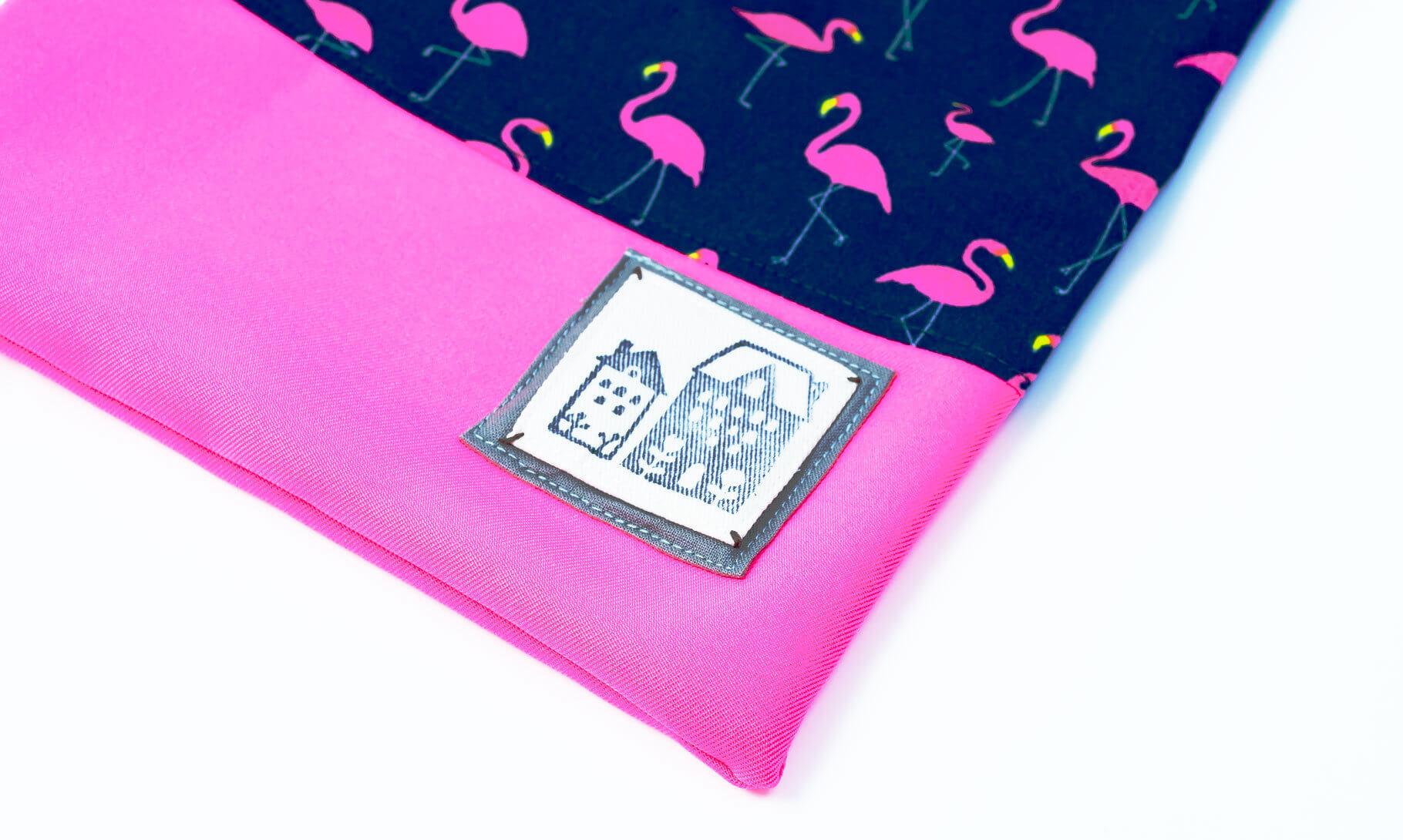 コップ袋(フラミンゴネイビー、蛍光ピンク)モチーフ