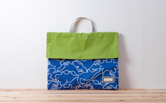 防災頭巾カバー(帆布グリーン、恐竜青)