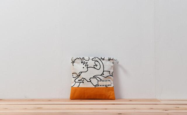 コップ袋(恐竜白、帆布オレンジ)