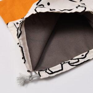 コップ袋(恐竜白、帆布オレンジ)裏地グレー