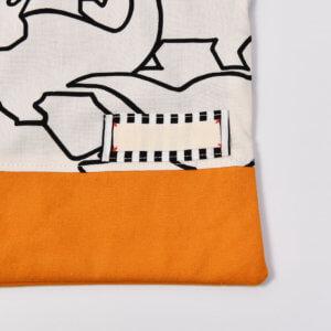 コップ袋(恐竜白、帆布オレンジ)名付けネームタグ