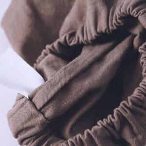 スモックパンツ、股上袋縫い