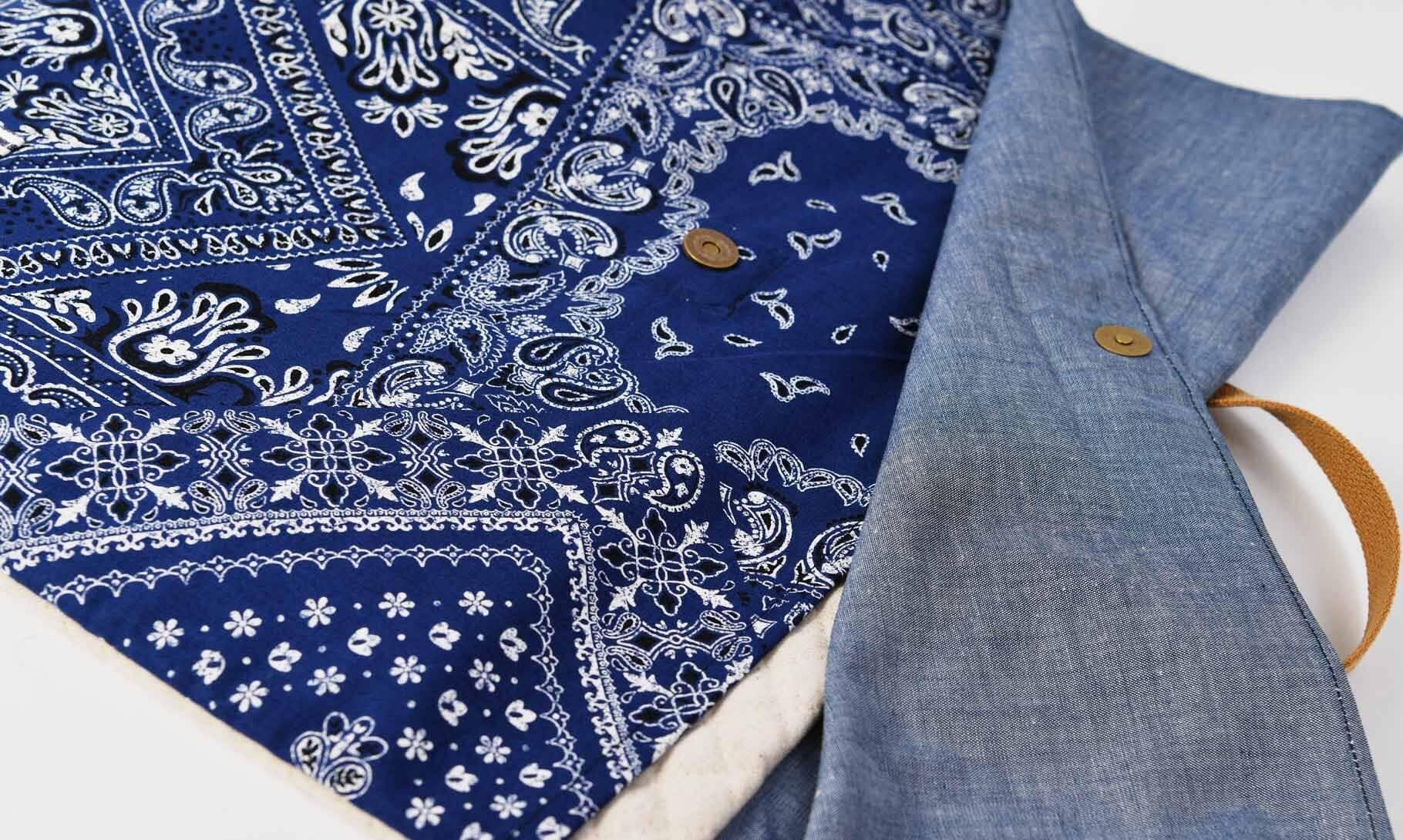 防災頭巾カバー(バンダナブルー、タンガリー)フタ部分