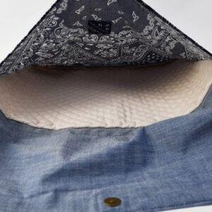 防災頭巾カバー(バンダナブルー、タンガリー)防災頭巾収納部