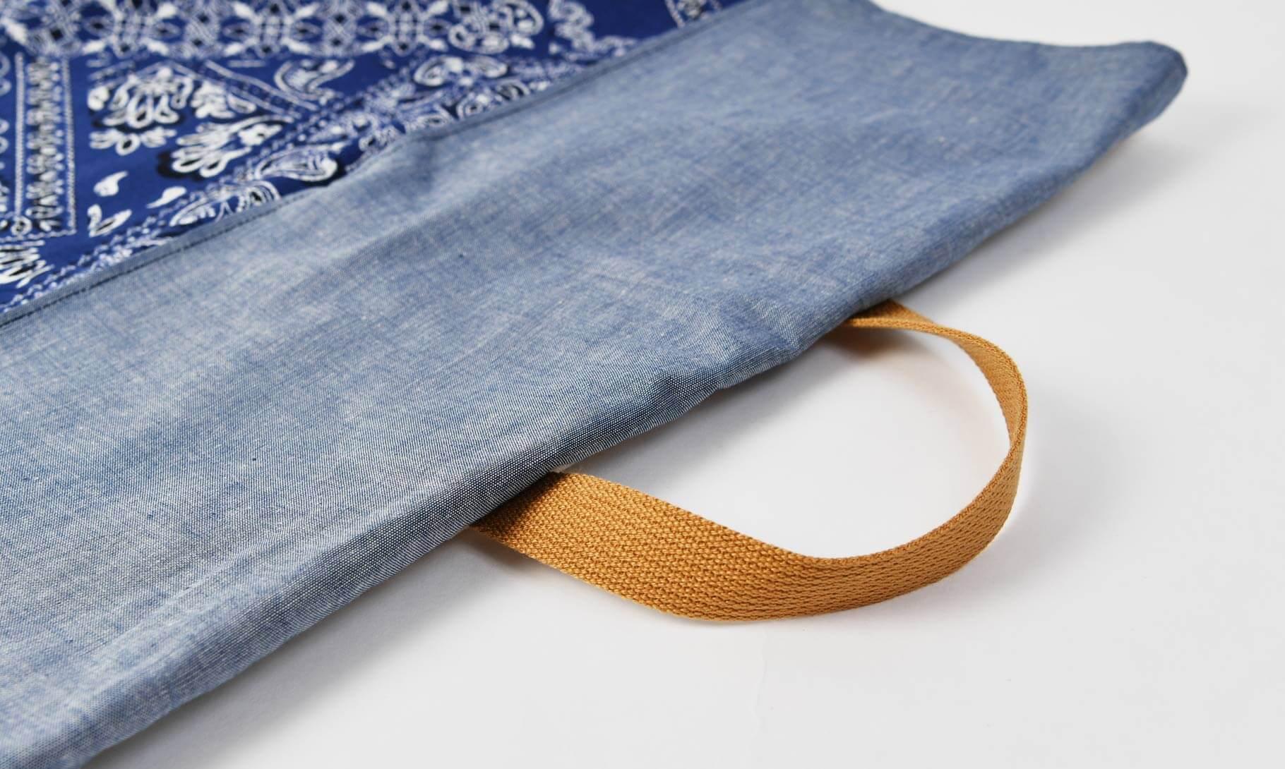 防災頭巾カバー(バンダナブルー、タンガリー)持ち手のオプション