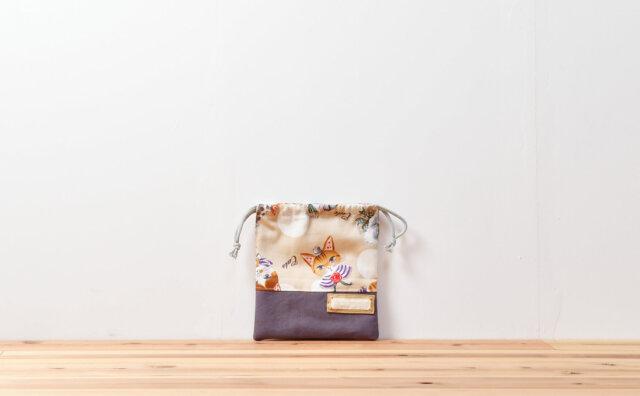 コップ袋(キャットパーティー、帆布ダークパープル)