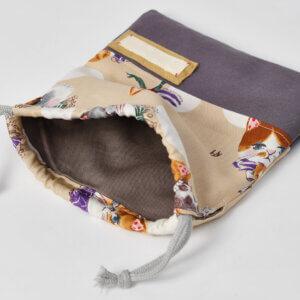 コップ袋(キャットパーティー、帆布ダークパープル)裏地グレー