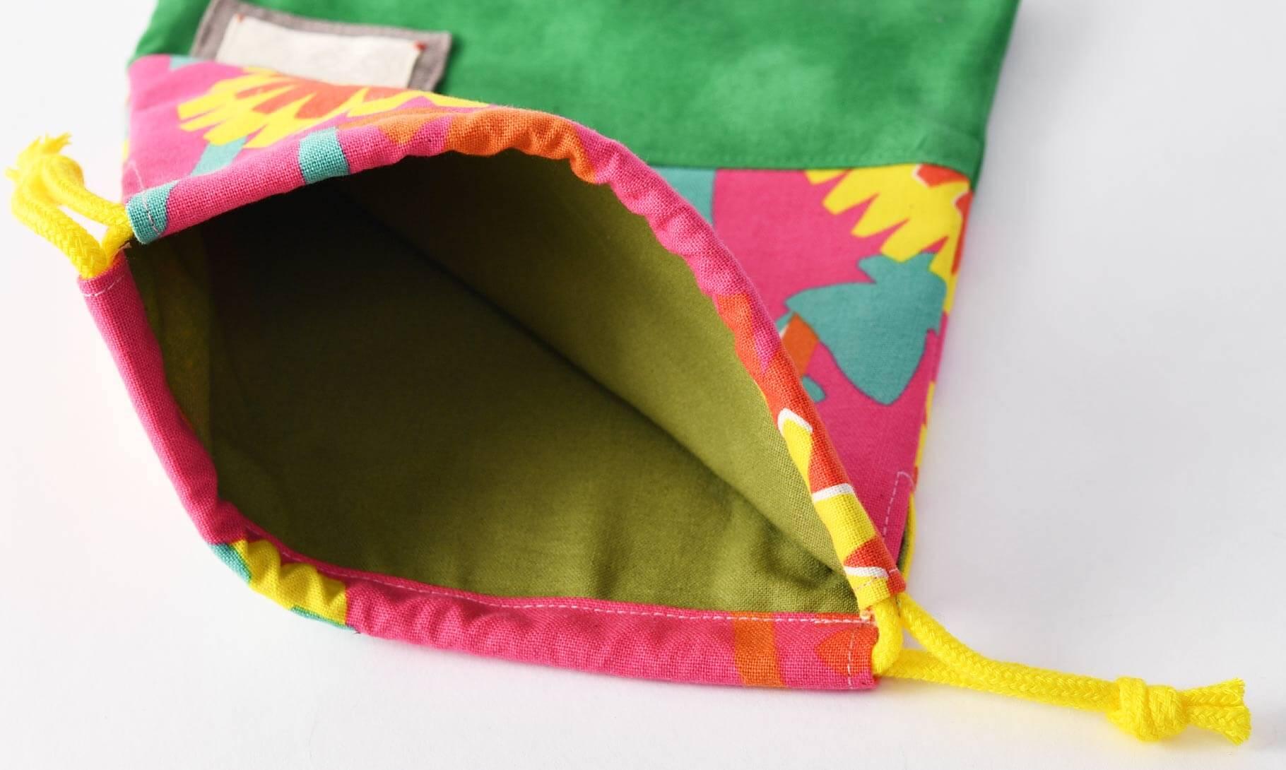 コップ袋(タンポポとピンク、タイダイグリーン)裏地グリーン