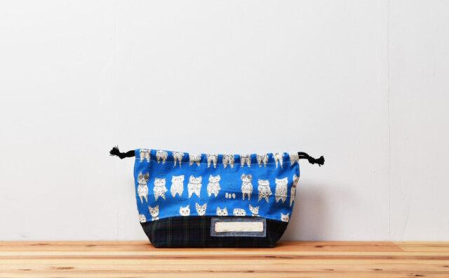 弁当袋(キャットコレクション、タータンチェック)
