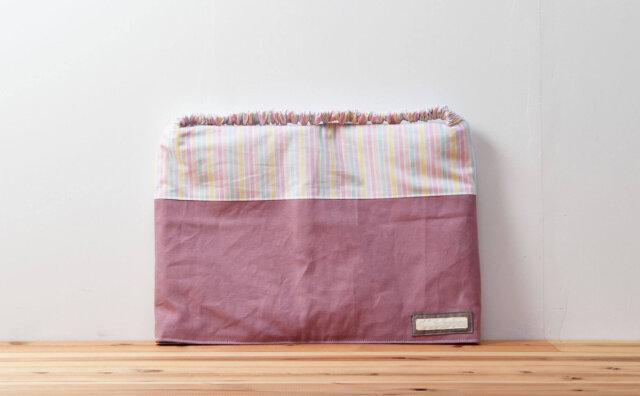防災頭巾カバー座布団タイプ(淡いカラフルストライプ、淡いパープル)